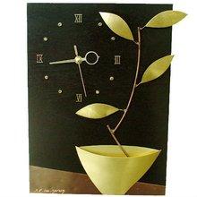 Flowerpot Wall Clock - Golden Bronze&Wood - Artist Works