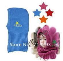 New Wool Korean Cute Stretchy Warm Winter Five-pointed Star Baby Kids Children Cap Hat Beanie Collar Cap 8047