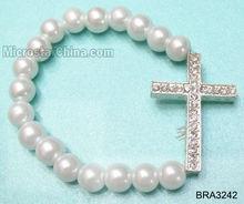 White pearl beads shamballa bracelets with cross