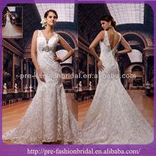 2013 Sexy V-Neck Elegant Trumpet/Mermaid Beaded Lace Wedding Dress Bridal Gown