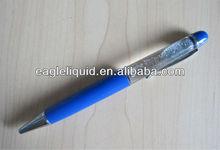 promotion gift blue glitter LOGO liquid floater pen