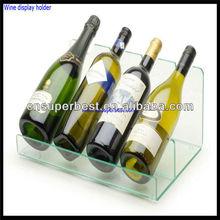 Transparent rectangular acrylic wine display stand
