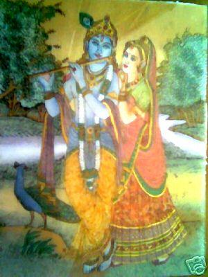 Glass  on Art Radha Krishna Gem Stone Glass Painting Wall Hanging Photo