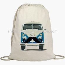 Cinch Sack Backpack - Drawstring Bags - Beach Bags - Natural Cotton Bag - VW Bus Logo