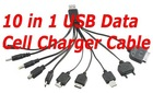 10 in 1 USB Mobile Cell Data phone Charger for Nokia Samsung LG Sony iphone ipod mp3 mp4 usb 5pin light weight black Cable
