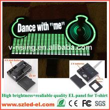 el equalizer t-shirt panel with DC6V or DC3V sound active inverter