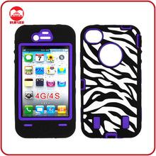 Full protection Robert Style Laser Engraved Combo Hybrid Zebra Case for iPhone4 4s