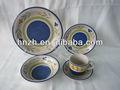 moda antiga cor azul com desenho de flor 20 peças de cerâmica pintado à mão turco talheres para o restaurante e uso da família