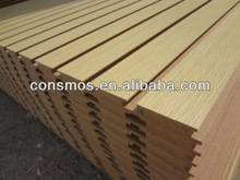 melamine paper faced MDF wall panel, T-slot MDF board, grooved MDF