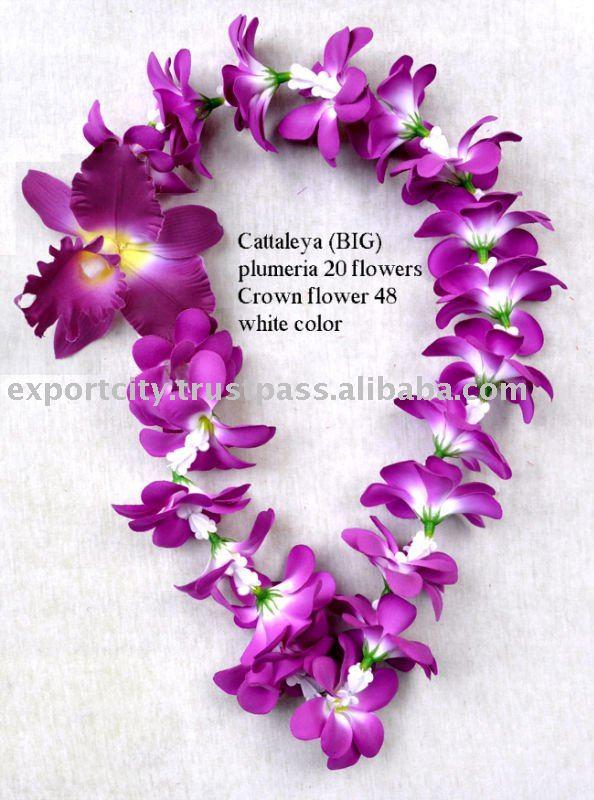 Hawaiian flower lei, leis fabric plumeria & bouquet