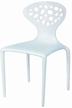 white plastic dining room side chair