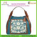 Nouveau look floral brodé sac de toile./blue pour les femmes
