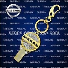 Top Sale Metal Golden Mini Car Key Shape Pen Drives 8gb with Waterproof
