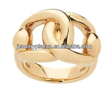 Link Design 14K Gold Plated Silver Ring,Fashion 925 Sterling Silver Jewelry