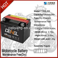 wn Brand Top Quality Motorcycle DIN/JIS MF Battery 12V 3AH