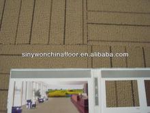 SY8301 Brown Solution Dyed Strip Carpet Tile Bitumen Back