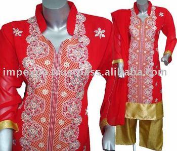 Ladies Fashion wear A-Line Kameez with Jamawar Trouser(Item No.IMPEXPOALINE751)