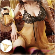 New Sexy lingerie Yellow Lace Dress Babydoll G-string