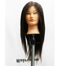 80% human hair training head real hair mannequin head 18inch Hair Hairdressing Cutting Training Mannequin