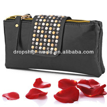 Fashion PU Leather women rivet clutch bag purse and handbag with strap