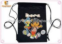 black color 100%cotton canvas pocket backpack
