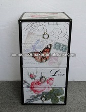 White wooden chest of 4 drawers , butterfly&flower design,Covered by PU leather
