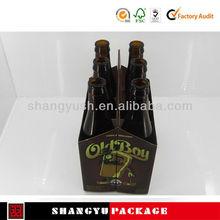 Custom Printed Cardboard 4 & 6 Pack Carriers,Corrugated paper wine carrier wine pack,Kraft 6 Bottle Beer/Wine Packing Carrier