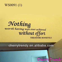 """""""Nothing Worth Having Was Ever Achieved Without Effort"""" ~ President Theodore Roosevelt Large Wall Decal Sticker History Quote"""