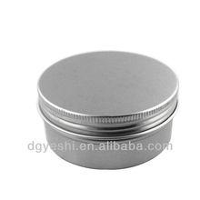 round aluminum tin box with screw lids