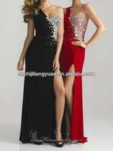SJ1225 new design custom good quality low price beaded blue chiffon evening dress