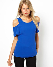 2014 Summer Cold Shoulder Cut Out Top Of Clothing Factory In China