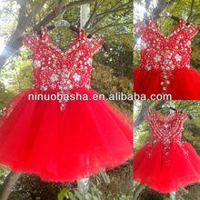 NW-423 Noble Beaded Flowers Top Tulle Skirt Real Sample Flower Girl Dress