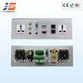 Js-wp301 usb+hdmi+av+vga+rj45+rj11+ac alumínio poder de tomada de parede