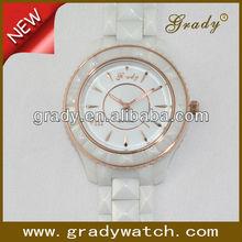 2013 lady fashion pearl white and black ceramic bracelet watch