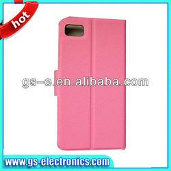 Hot selling flip leather wallet color smart cover case for Blackberry Z10