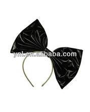 Halloween Accessory Large Black Patent Vinyl Bow Headband