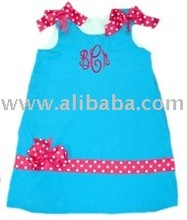 fabric leather fur baby Infant Toddlers Land G Funky Monogrammed Blue With Pink Polka Dots Little Girls A-Line Dress bibs