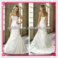 WE-1598 Cheap ivory satin wedding dress 2014
