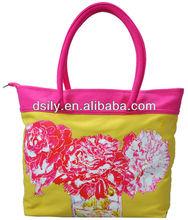 vivid flower printing canvas summer handbag,fashionable print tote bag,stylish women bag handbag