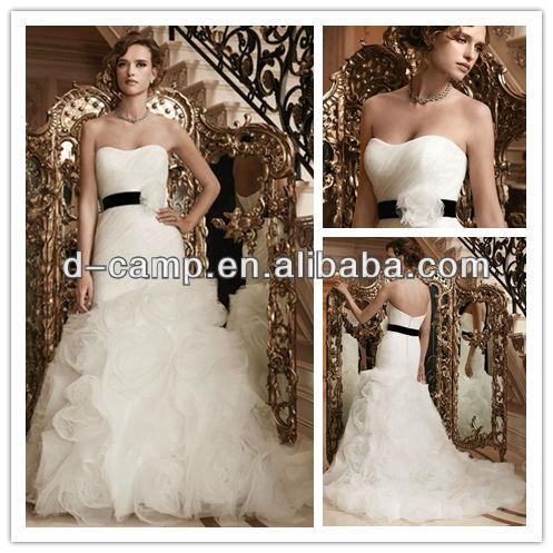 WD-1858 Ivory drop waist suzhou wedding dress fit and flare ruching