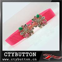 2013 fashion women elastic belt with crystal buckle