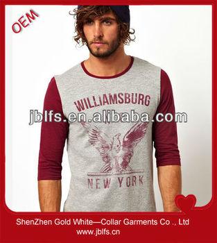 brand mens slim fit 3/4 sleeve t shirt