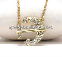 zinc alloy with rhinestone nautical anchor pendant necklace wholesale