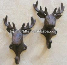 Cast Iron Buck Deer Stag Elk Towel Bath Garden Wall Hook