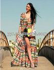 2014 Summer Dress Coat Colorful Prints Bohemia Ethnic Women's Ladies' Fashion Casual Long Dresses Coats Beach Dress Resort Wear