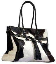 Cow hair on ladies shoulder bag