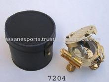 Nautical Brass Brunton Compass Plain Polish with Leather Box