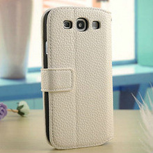 2013 New phone accessory high quality pu litchi leather flip wallet card holder case for galaxy s3 i9300
