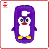 Wholesale Purple Penguin Cover Silicone Cute Gel Rubber Cell Phone Case for Nokia C3