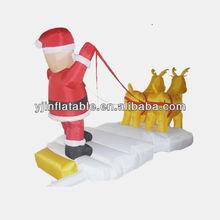 kids christmas inflatable santa with toys/christmas blown up santa cartoon